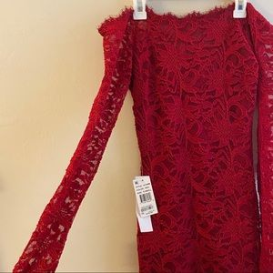 Floral Lace Off the Shoulder Tight Red Dress